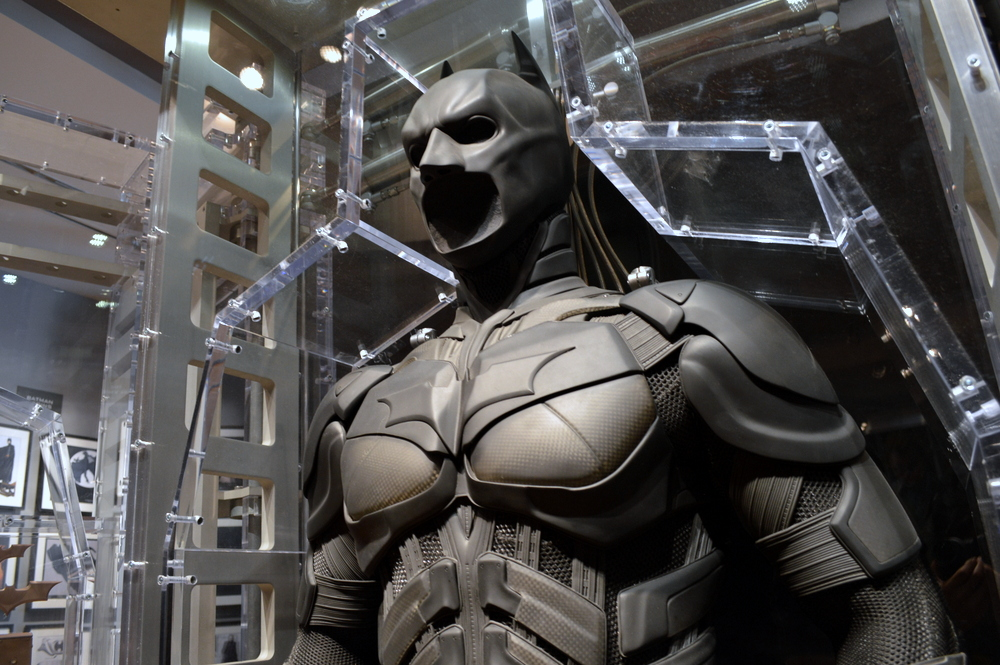 Batman's suit in the museum at WB Studios.